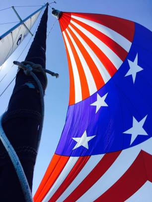Liberty sailing her spinnaker on the Fourth of July